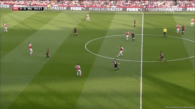 Cazorla drifts wide making space for Ramsey.
